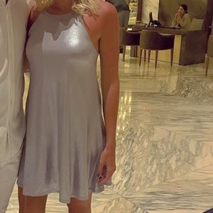 Silver halter dress.